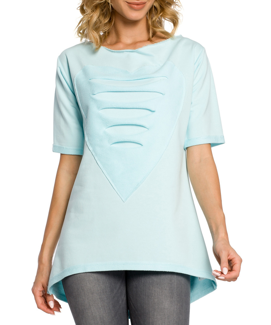 Mint cotton heart ripped top Sale - made of emotion