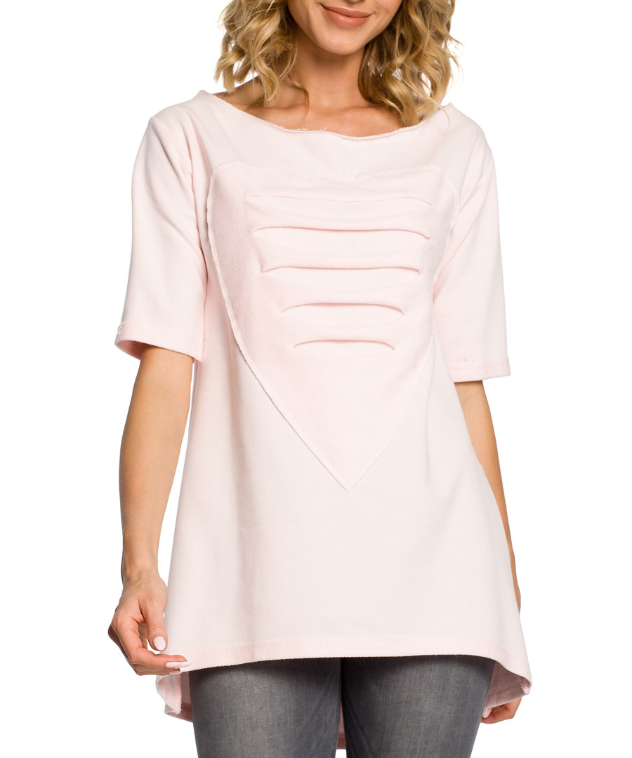 Powder pink cotton heart ripped top Sale - made of emotion