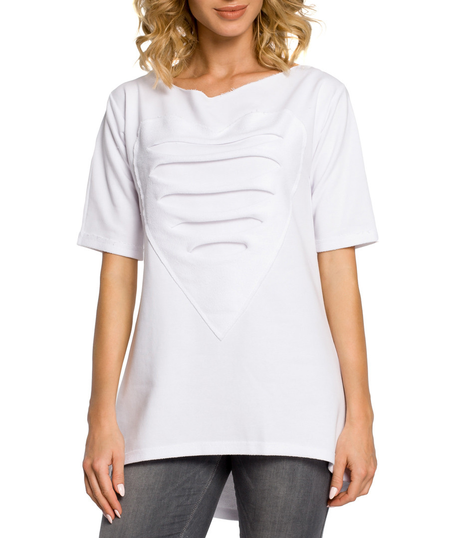 White cotton heart ripped top Sale - made of emotion