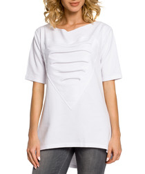 White cotton heart ripped top