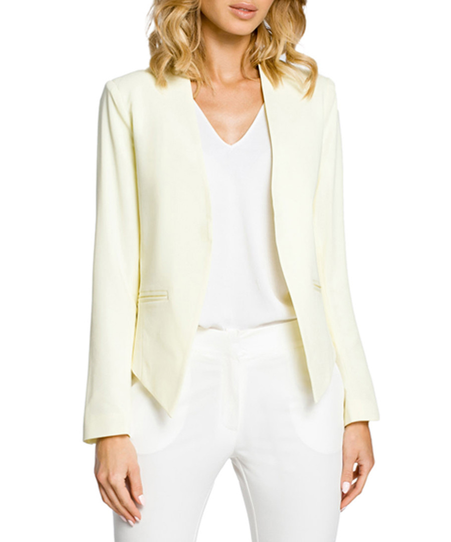 Pale yellow long sleeve pointed jacket  Sale - made of emotion