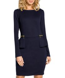 Navy blue cotton blend zip detail dress