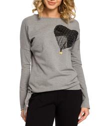 Grey cotton blend heart motif top