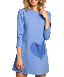 Blue cotton heart pocket dress