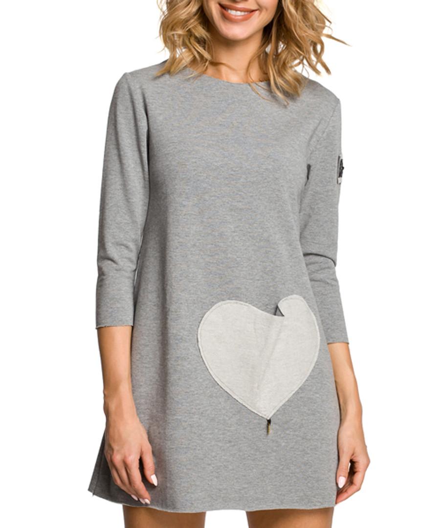 Grey cotton heart pocket dress Sale - made of emotion