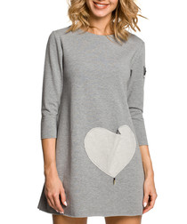 Grey cotton heart pocket dress