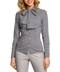 Black checked pussybow shirt