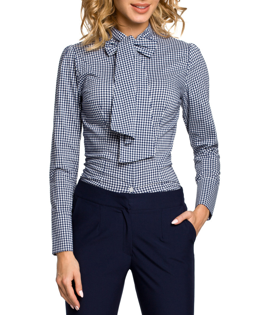 Navy gingham pussybow shirt Sale - made of emotion
