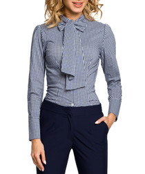 Navy gingham pussybow shirt