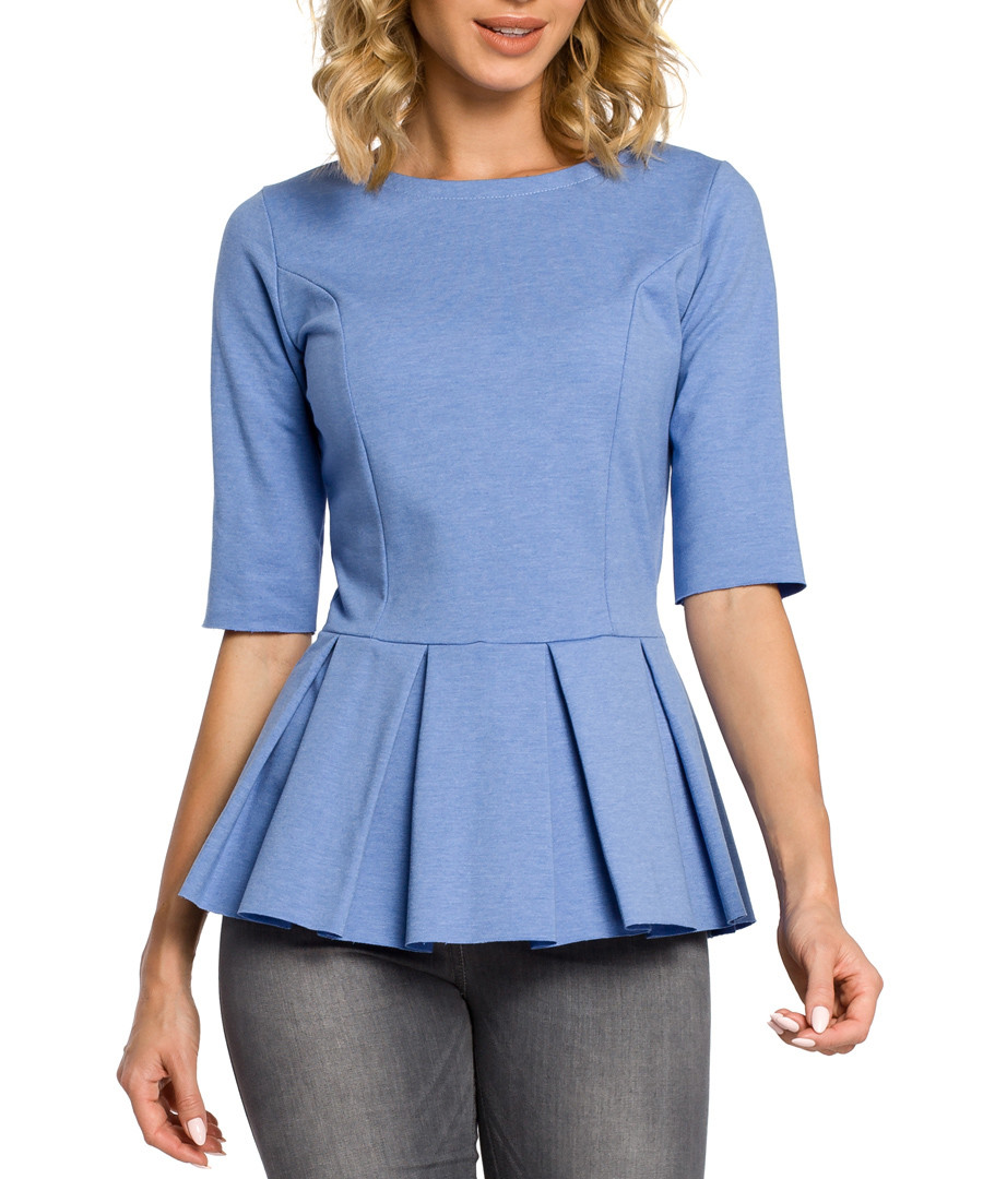 Blue peplum pleat 3/4 sleeve top Sale - made of emotion