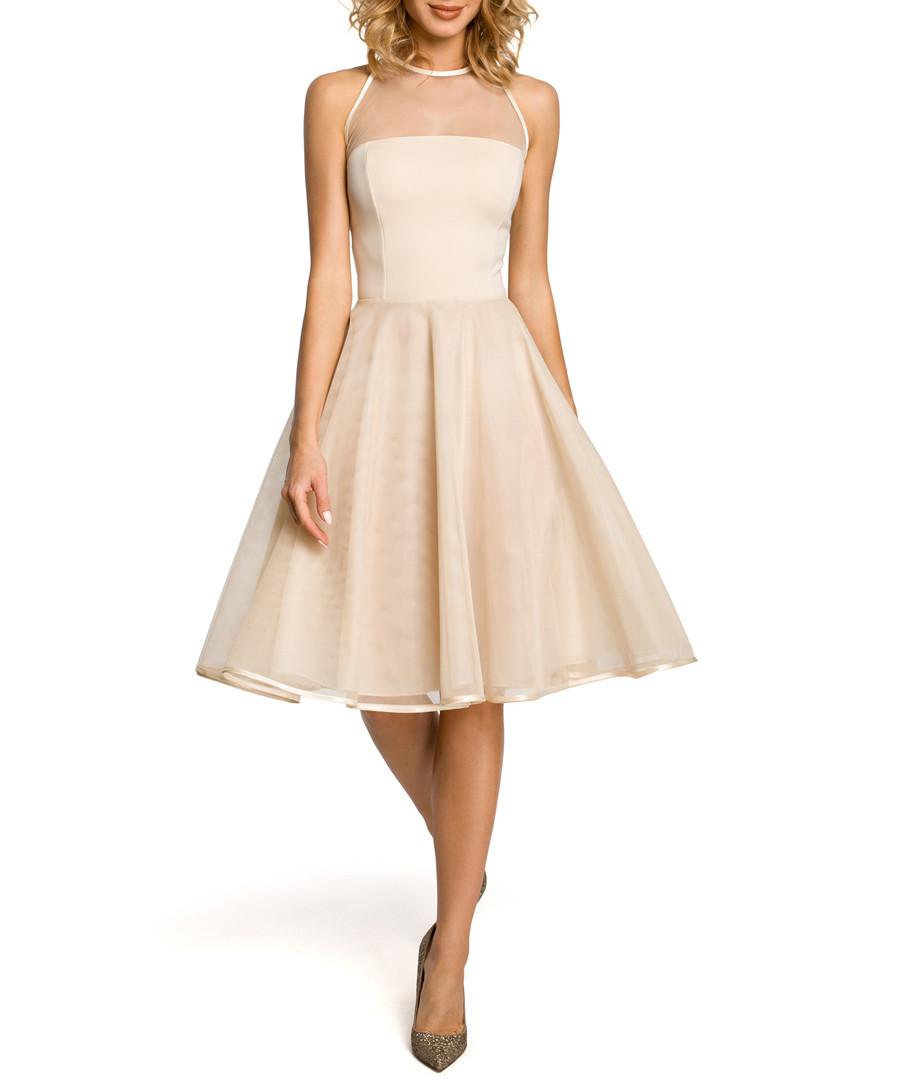 Beige mesh insert sleeveless midi dress Sale - made of emotion
