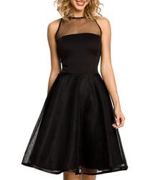 Black mesh insert sleeveless midi dress