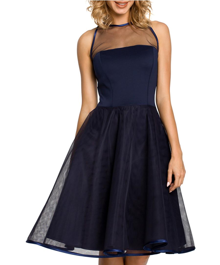 Navy blue sleeveless midi dress Sale - made of emotion