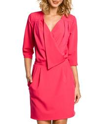 Pink wrap drape knee-length dress