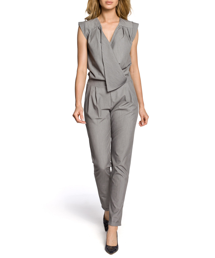 Grey wrap drape jumpsuit Sale - made of emotion