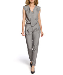 Grey wrap drape jumpsuit