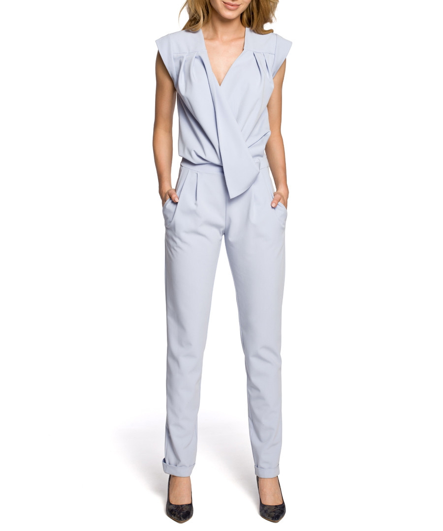 Light blue wrap drape jumpsuit Sale - made of emotion