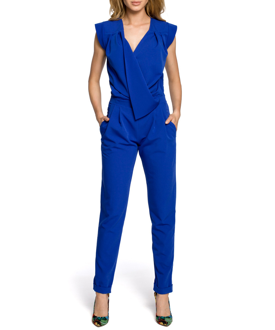 Royal blue wrap drape jumpsuit Sale - made of emotion