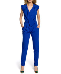 Royal blue wrap drape jumpsuit