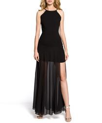 Black sheer thigh slit maxi dress