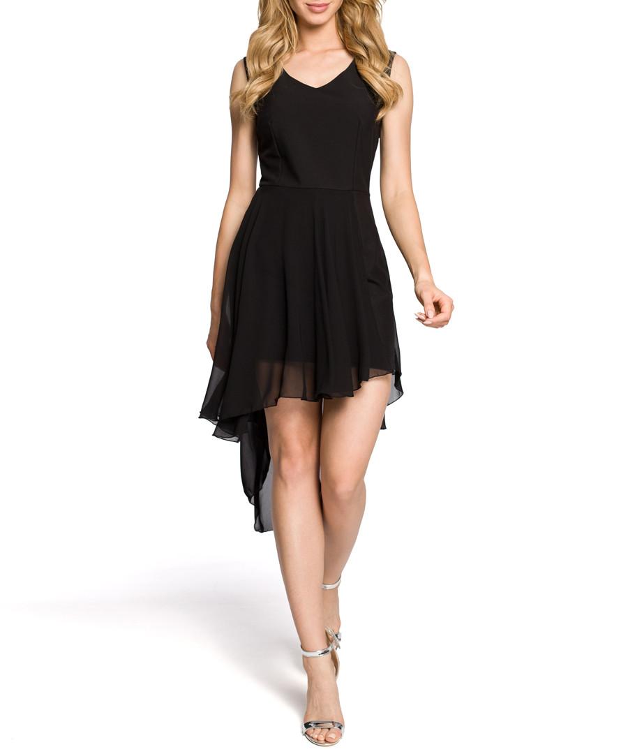 Black waterfall sheer hem dress Sale - made of emotion