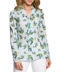 Ligth blue hummingbird print blouse