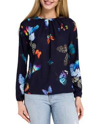 Navy blue butterfly print blouse