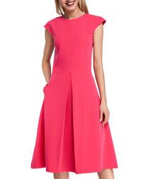 Pink kick-pleat midi dress
