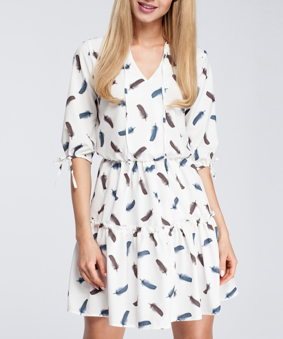 White feather print tiered V-neck dress Sale - made of emotion
