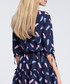 Navy feather print tiered V-neck dress Sale - made of emotion Sale