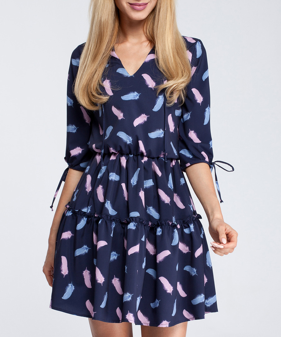 Navy feather print tiered V-neck dress Sale - made of emotion