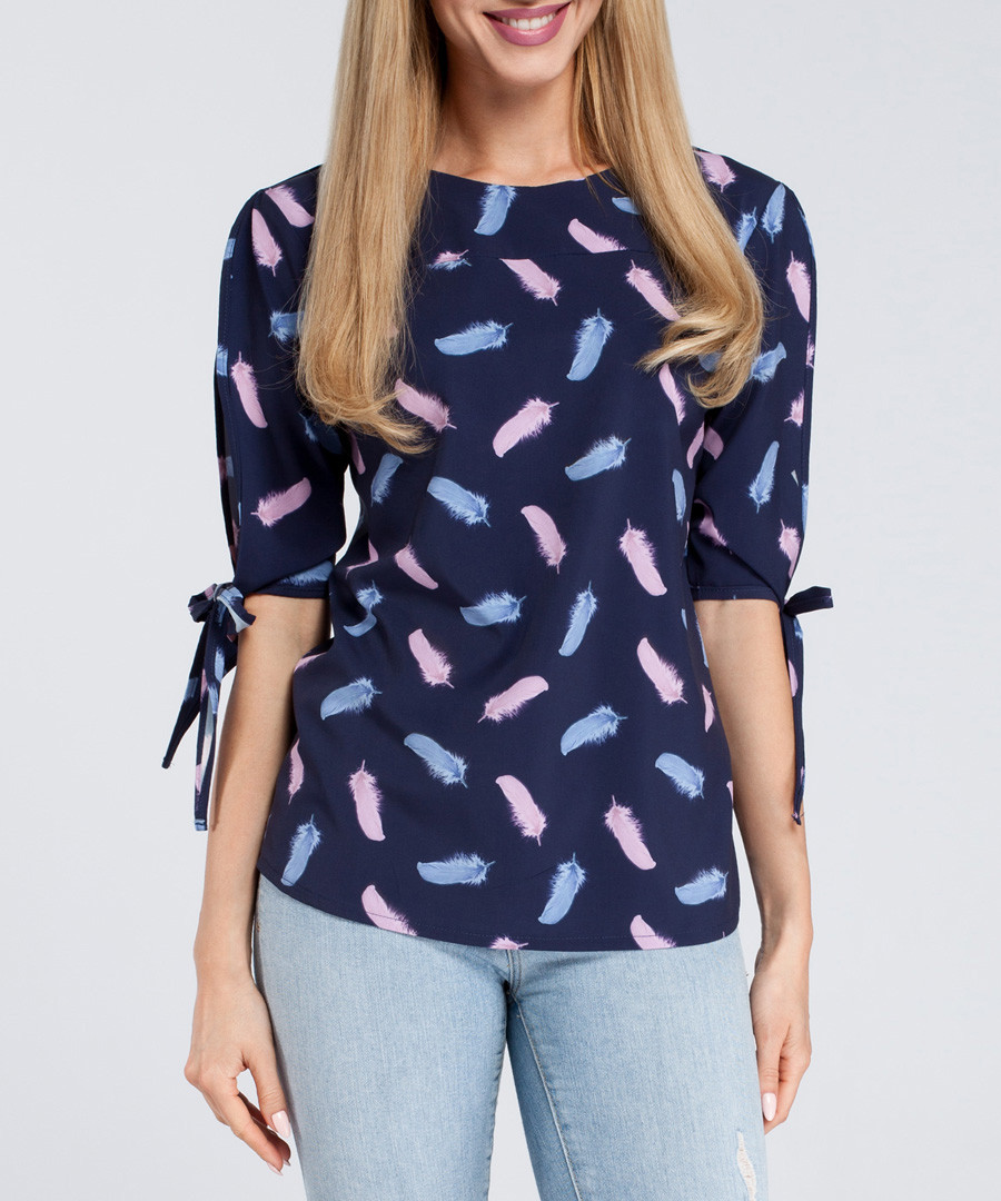 Navy feather print tie-sleeve blouse Sale - made of emotion