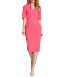 Pink structured midi dress