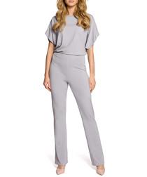 Grey short sleeve jumpsuit