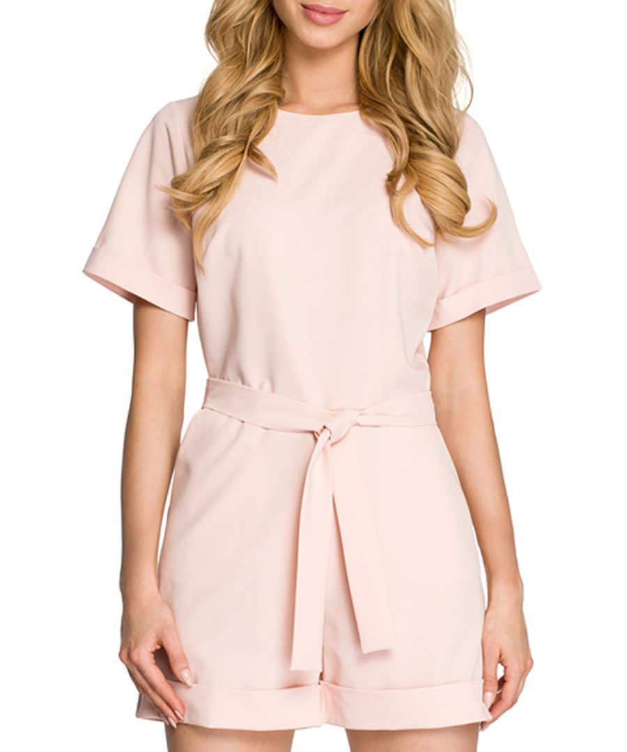 Powder pink tie-waist playsuit Sale - made of emotion