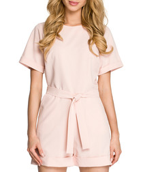 Powder pink tie-waist playsuit