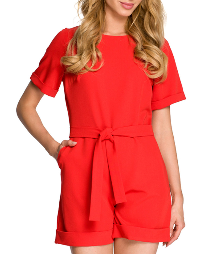 Red tie-waist cuffed playsuit Sale - made of emotion