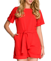Red tie-waist cuffed playsuit