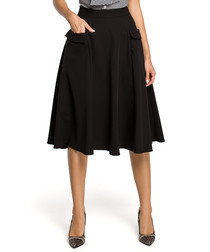 Black flowy high-waist midi skirt