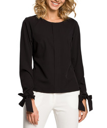 Black tie wrist long sleeve blouse