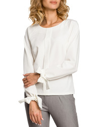 Ecru tie wrist long sleeve blouse