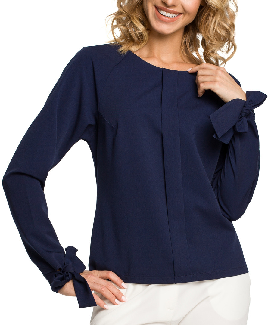 Navy blue tie wrist long sleeve blouse Sale - made of emotion