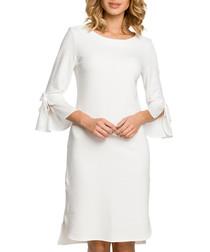 Ecru cotton blend 3/4 sleeve dress