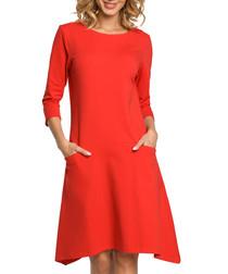 Red cotton blend pocket midi dress