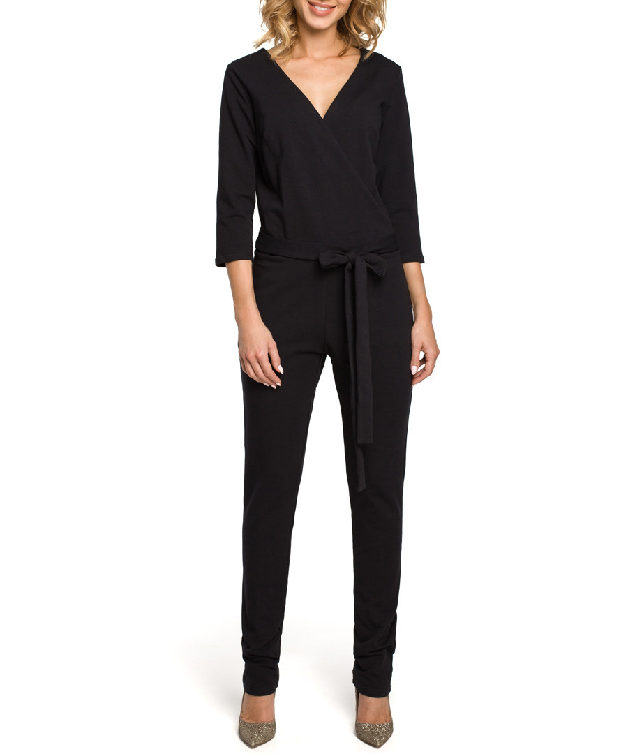 Black V-neck tie-waist jumpsuit Sale - made of emotion