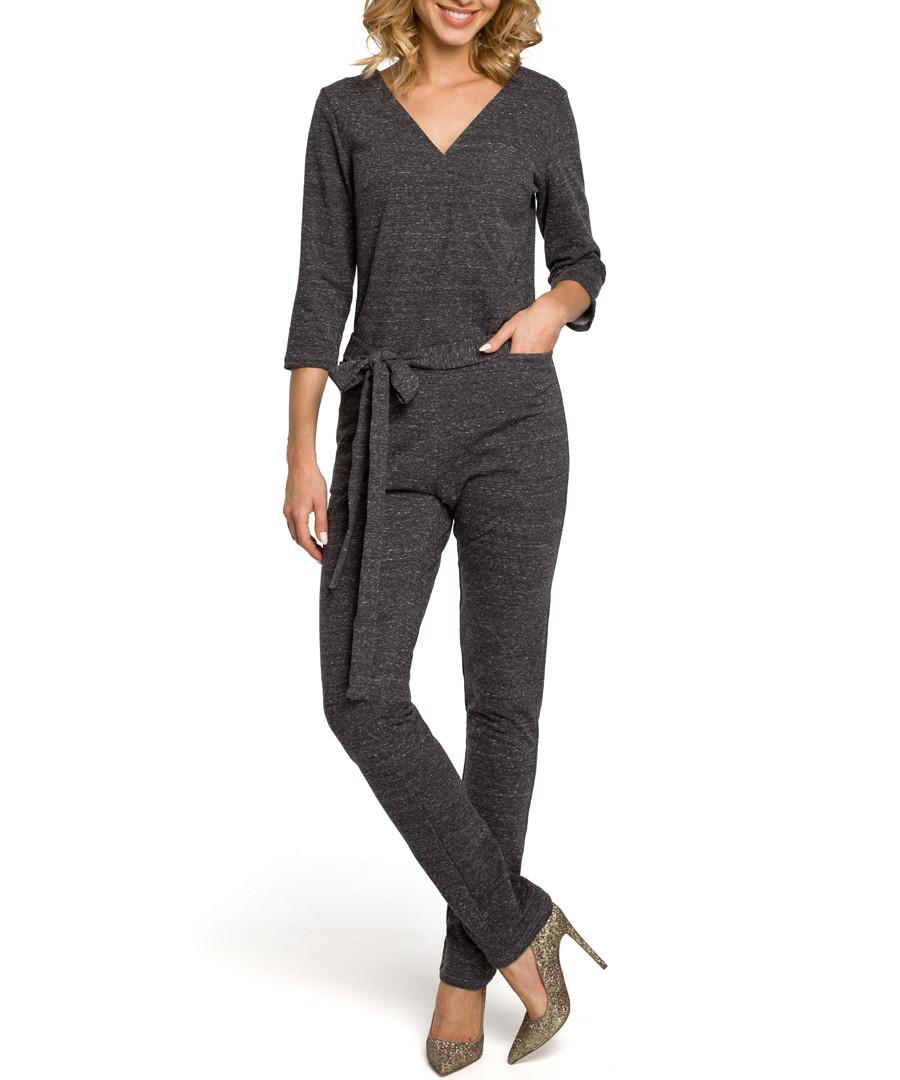 Graphite V-neck tie-waist jumpsuit Sale - made of emotion