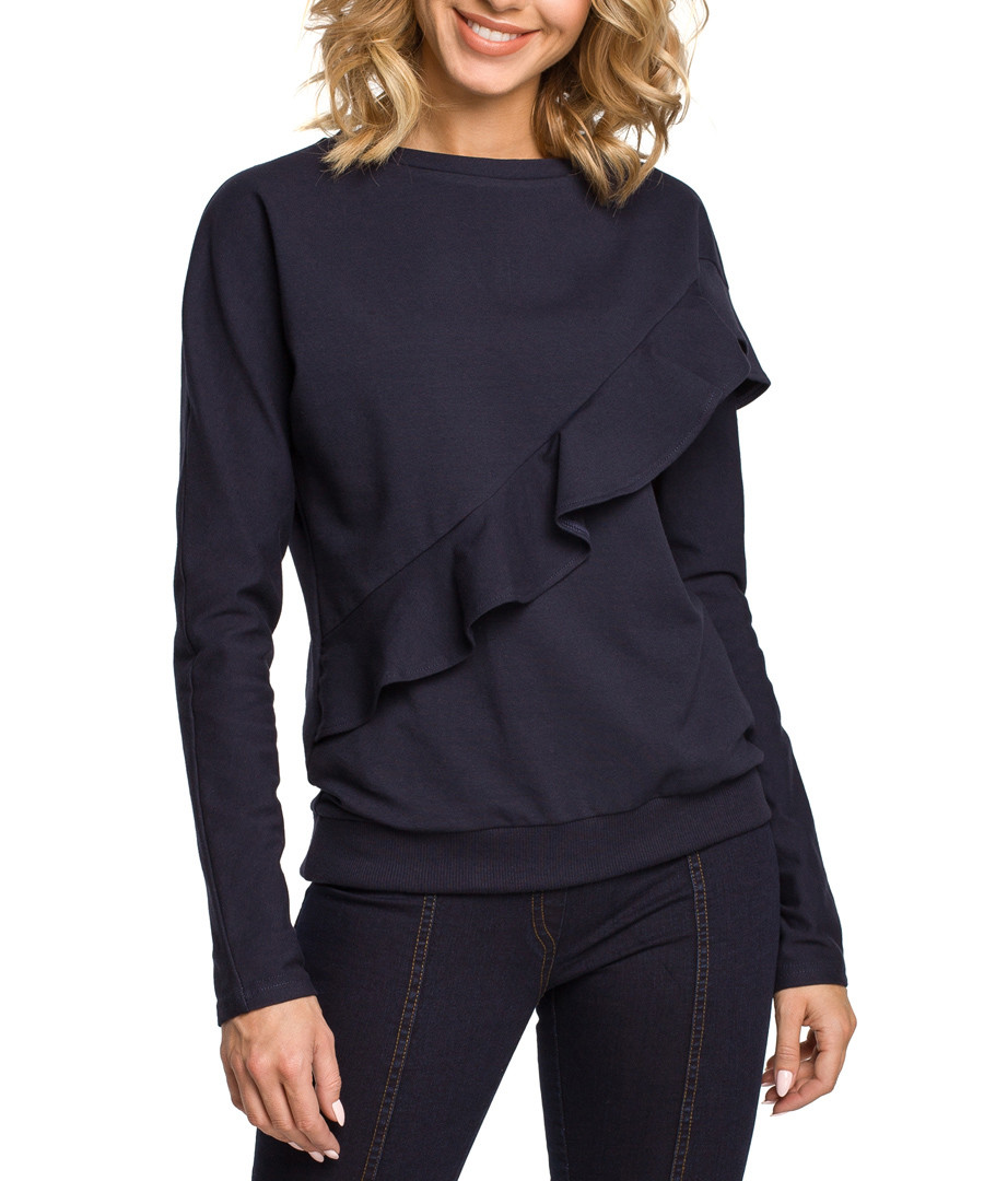 Navy blue cotton blend ruffle jumper Sale - made of emotion