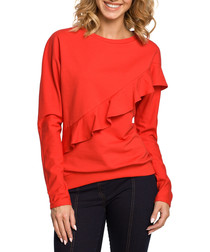 Red cotton blend ruffle jumper