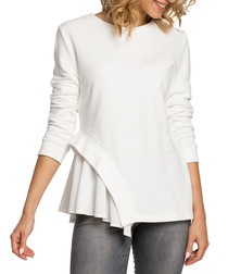 Ecru cotton blend hem detail blouse