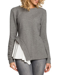 Grey cotton blend hem detail blouse